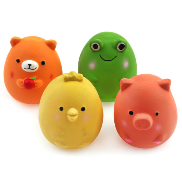 4 Pack 2.4quot; Small Squeaky Dog Toys Bouncy Egg Ball Interactive Fetch Puppy Play $11.98