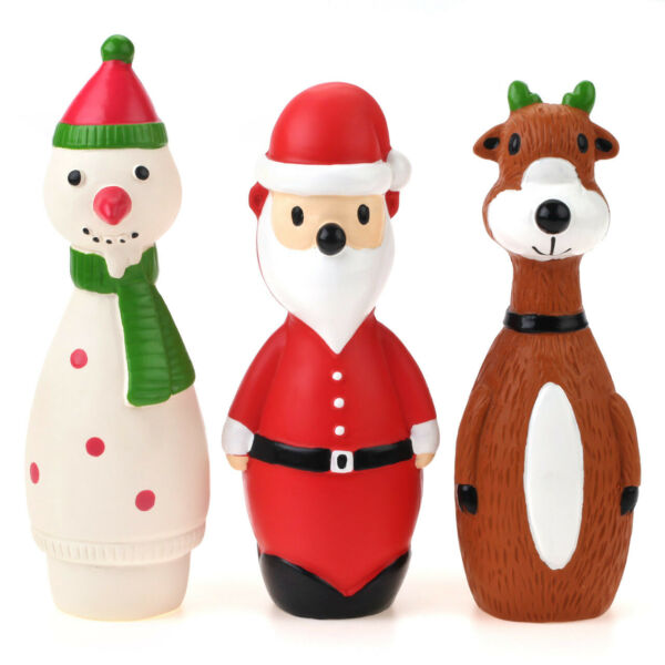 Chiwava 3 Pack Squeaky Dog Toys for Small Dogs Snowman Pet Puppy Stick Fetch Toy $11.98