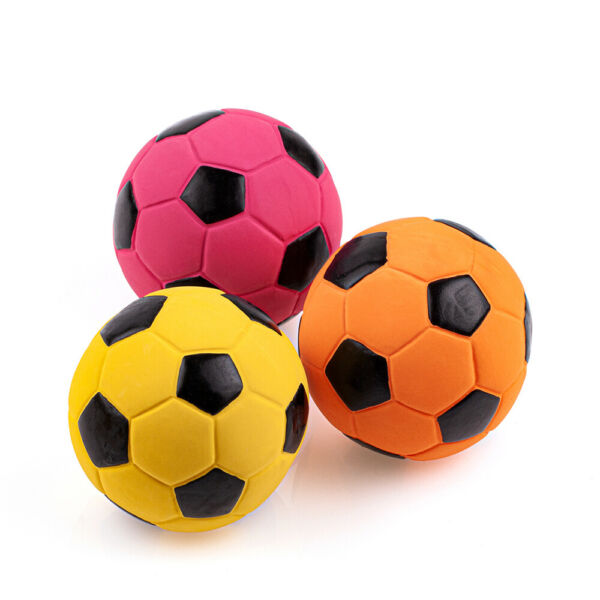 3 Pack 2.7#x27;#x27; Medium Soft Squeaky Dog Toys Soccer Ball Bounce Interactive Play $9.98