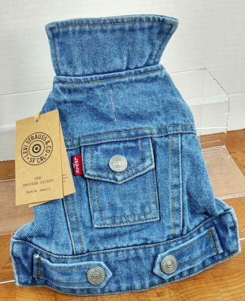 Levis Strauss Pet Demin Trucker Dog XS with Opening for Leash Lined Jacket NWT $16.15