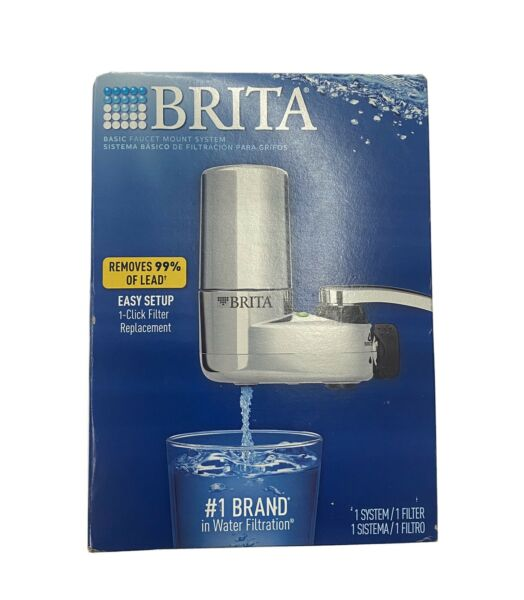 BRITA FAUCET MOUNT FILTER SYSTEM CHROME NEW OPEN BOX FAST FREE SHIPPING