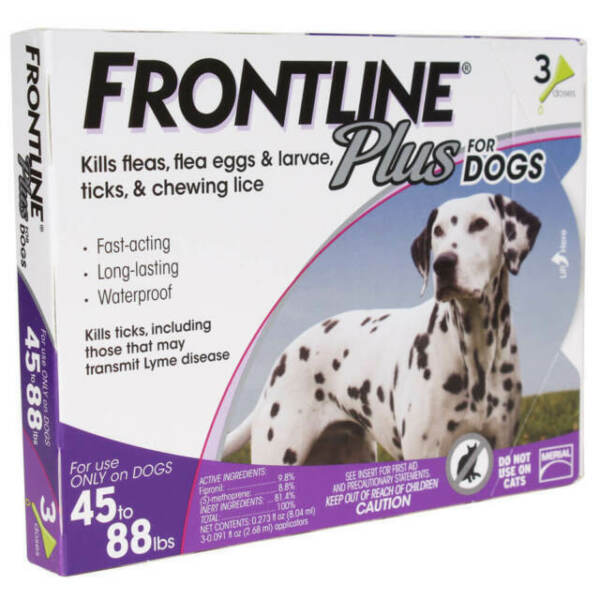 FRONTLINE Plus For Flea and Tick Control for 45 to 88 Pound Dogs 3 Doses $24.00