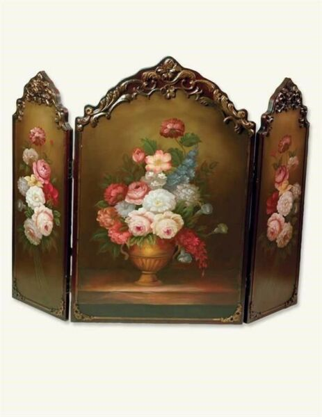 NWD Victorian Trading Co Scarborough Hand Painted Floral Fireplace Screen 29Z