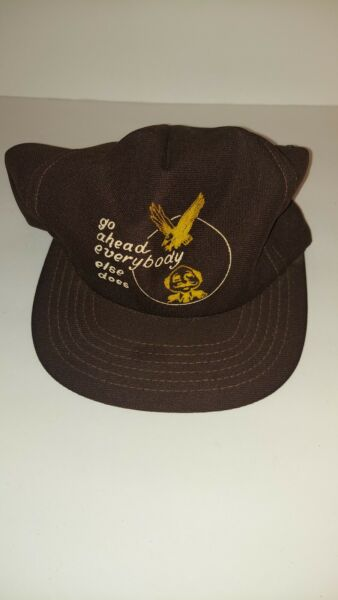 Vtg Funny Hat. Go ahead everyone else does. 3d puffy print snap back NOS $30.00