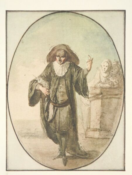 Antoine Watteau After : Commedia Dell#x27;Arte : The Doctor Lithography 1922