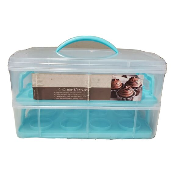 DDs Discounts Double Stack Cupcake Carrier Holds 24 Cupcakes with lid