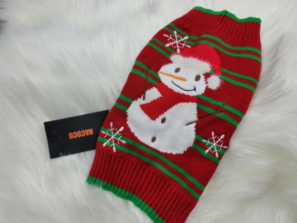 Nacoco Dog Snow Sweater Snowman Christmas Holiday Sweater Small $8.95
