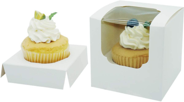 White Single Regular Cupcake Boxes Paper 12 Pack with Insert and Clear Window