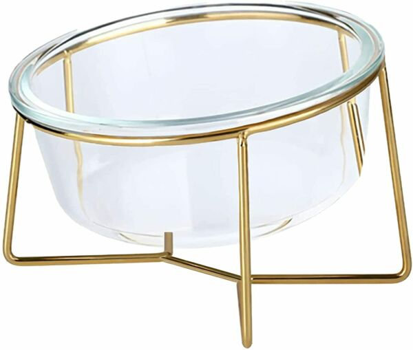 Glass Raised Cat Bowls or Small Dog Dishes with Gold Metal Stand 20 Ounces $30.58