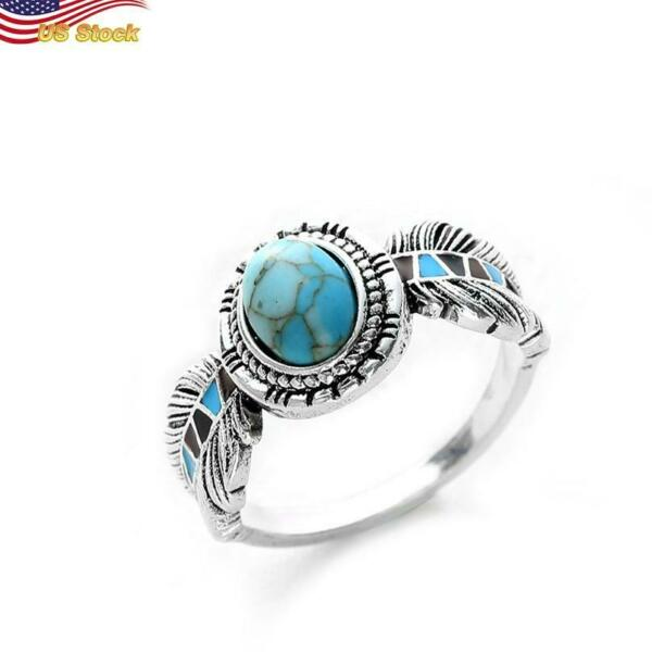 Boho Leaf 925 Silver Plated Round Cut Blue Turquoise Ring for Women 6 10