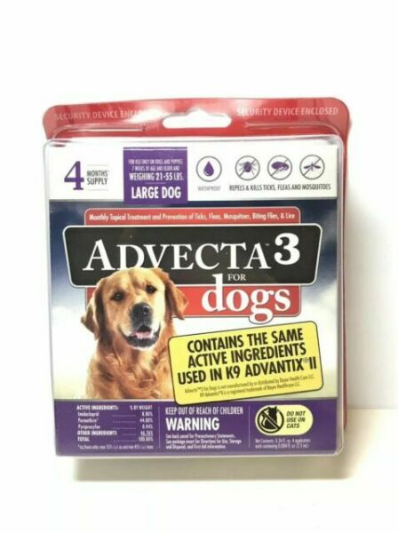 ADVECTA 3 FOR LARGE DOG 21 55 lbs FLEA amp; TICK TOPICAL TREATMENT 4 MONTHS NEW $26.90