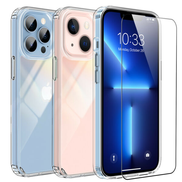 For iPhone 13 Pro 13 Pro Max Case Clear Shockproof TPU Cover Screen Protector