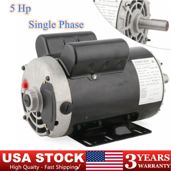 5 HP Air Compressor Duty Electric Motor 56 Frame 3450 RPM Single Phase 7 8quot; $225.00