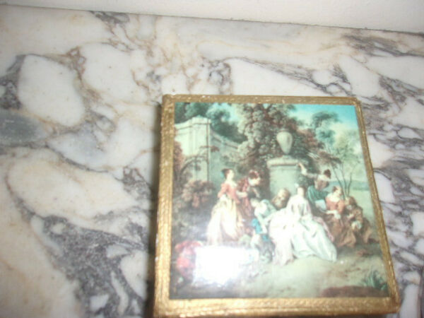 Wood antique box gold leaf with picture of ladies from Italy 4 1 4 in x 4 1 4