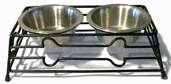 Raised Elevated Stainless Steel Small Dog Dishes Bowls Black Bone Pattern D $6.25