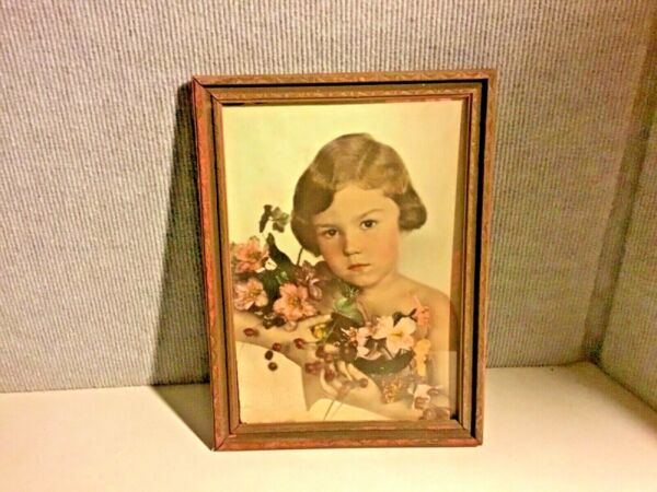 """VINTAGE WOOD FRAMED 9"""" x 12"""" PHOTOGRAPH YOUNG GIRL HOLDING FLOWERS"""
