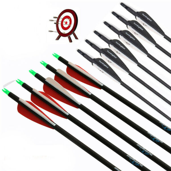 12pcs 31 inch Arrows Carbon Arrows OD7.8mm Archery Hunting for Target Practice $28.19