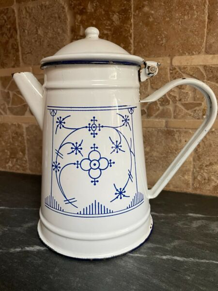 Early to Mid Century Vintage blue amp; white enameled French coffee pot