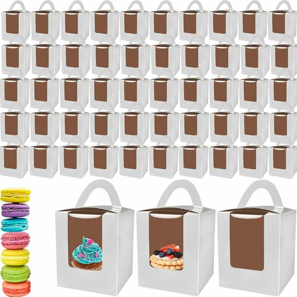 50 Pack Single Cupcake Boxes White Window Muffins Containers with Handle Cakes