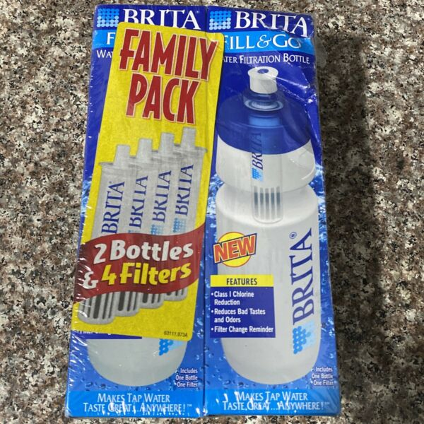 Brita Fill And Go Water Filtration Bottle Family Pack 2 Bottles And 4 Filters