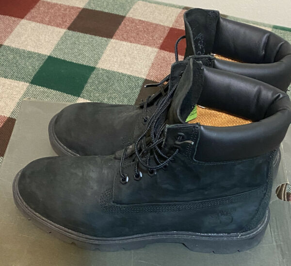 Timberland 6 Inch Basic 19039 Waterproof Black Boots Men#x27;s Size 8 Leather
