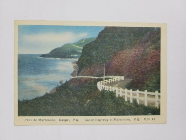 Gaspe Highway at Marsouins P.Q. Quebec Canada Postcard Posted 1950