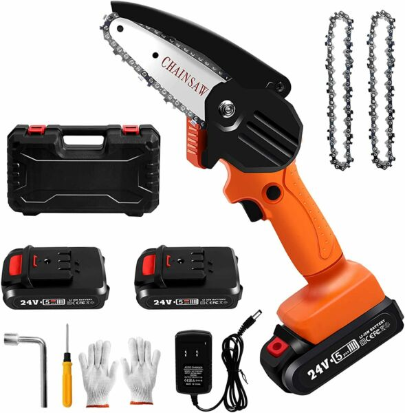 Mini Chainsaw Cordless 4Inch Small Electric Chain Saw 24V 2500 mAh Battery Power $53.87