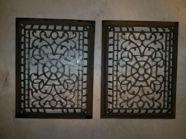 2 Antique cast iron grate vent grill. Heating air conditioning 10 3 8quot;x13 1 2quot;