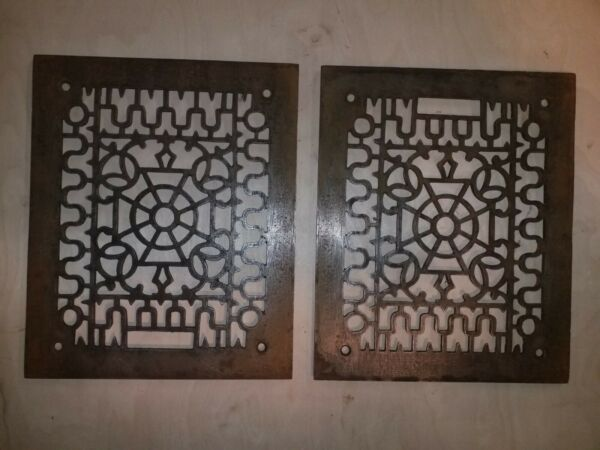 2 Antique cast iron grate vent grill. Heating air conditioning 9 1 2quot;x11 3 4quot;