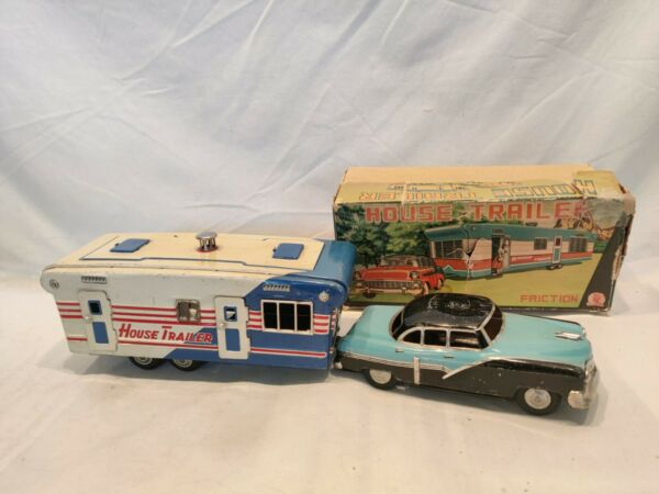 VINTAGE 1950#x27;S SSS TIN FRICTION ford s 1050 w HOUSE TRAILER and orig box WORKS $200.00