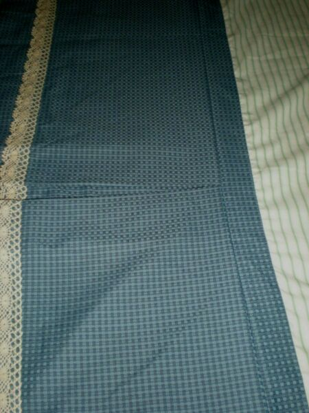 Custom Bed Skirt Federal Blue Basketweave Lined Box Pleated Crochet Lace Trim $49.99