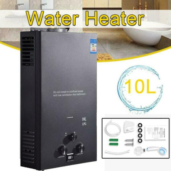 10L Water Heater 2.6 GPM LPG Gas Propane Tankless Instant Hot Boiler with Shower $119.00