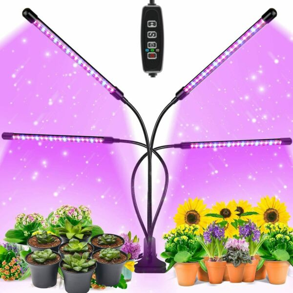 Grow Light 4 Heads 80LED Full Spectrum Plant Growing Lamp for Indoor Plant $24.98