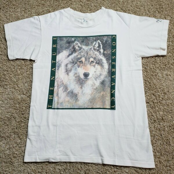 Vintage 90s Wolf Wildlife Nature Conservancy Shirt Large Down To Earth USA L $19.99