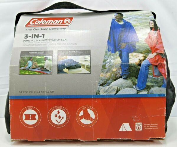 Coleman 3 In 1 Poncho Blanket Stadium Seat 84 x 54 IN