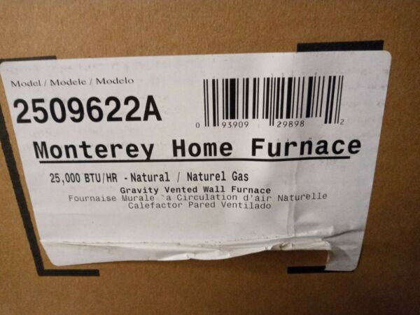 Williams 2509622A 25000 BTUH MONTEREY TOP VENT WALL FURNACE NATURAL GAS $499.99
