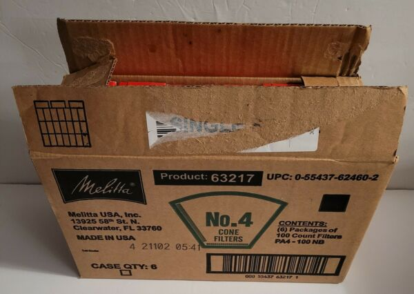 Melitta Coffee Filter Size 4 Natural Brown 6 Packs x 100 Filters 600 Total $20.00