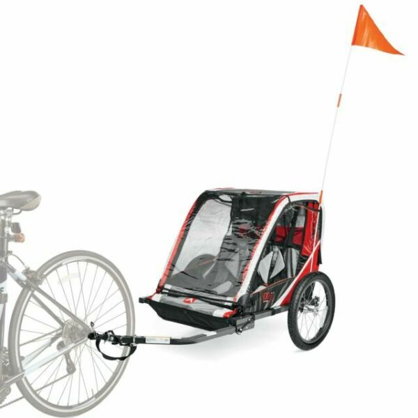Allen Sports Deluxe Steel Red 2 Child Bicycle Trailer Buggy wBug Rain Shield NEW $102.00