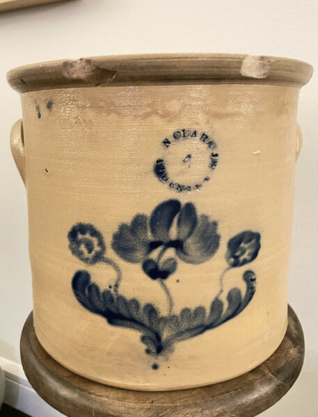 SCARCE N. CLARK ATHENS NY 5G CROCK WITH COBALT FLORAL DECORATION 19TH C