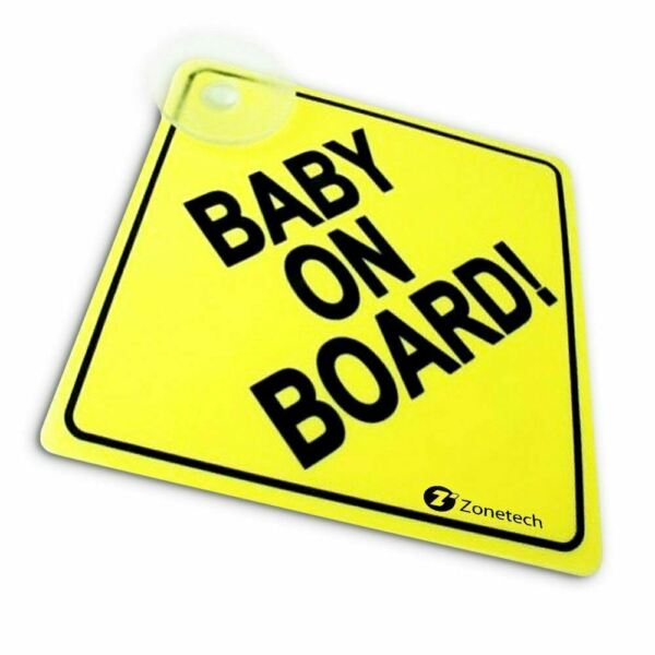 Zone Tech Baby On Board  Rusable Safety Sign Decal with Suction Cup 5