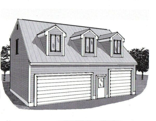 36x28 3 Car Garage Building Plans Dormered Loft amp; 12x28 Stall with 17ft Ceiling $168.95