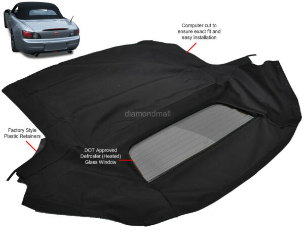Fits: Honda S2000 2002-2009 Convertible Soft Top & Heated Glass Window Black