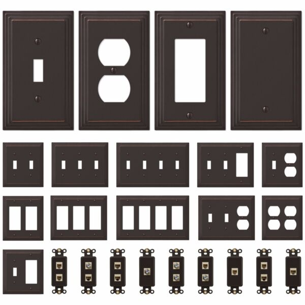 NEW Switch Plate GFI Outlet Cover Wall Rocker Oil Rubbed Bronze Finish $8.29