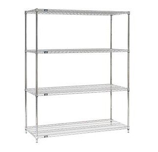 (100)HEAVY DUTY INDUSTRIAL WIRE SHELF SHELVING-QUICK SHIP-STAINLESS STEEL FINISH
