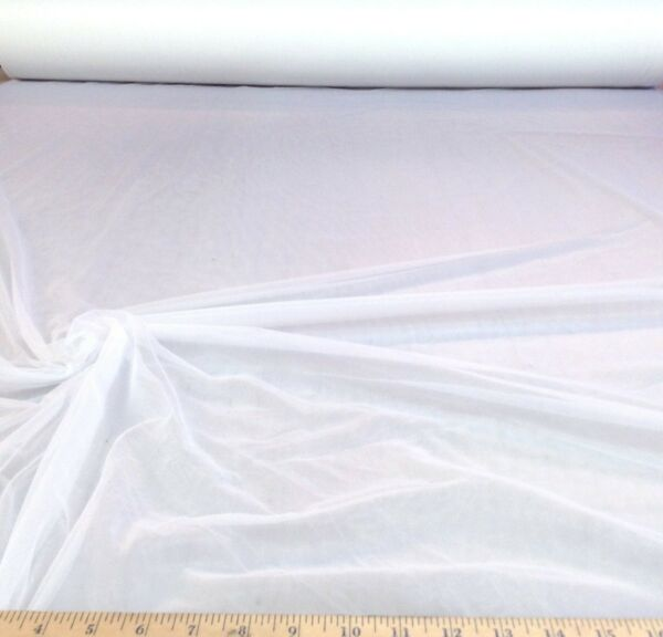 Discount Fabric Stretch Chiffon Snow White 108 inches wide Tr100