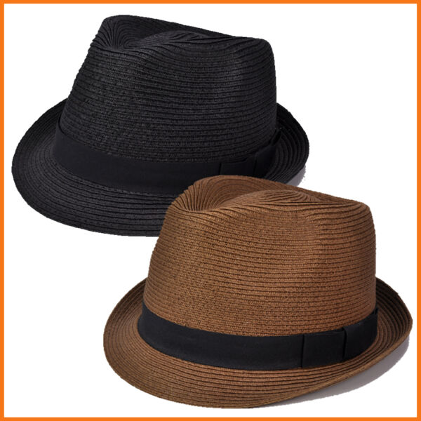 Urban Style Paper Straw Hand Block Crafted Fedora Bucket Trilby Outdoor Sun Hat
