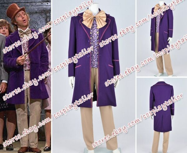 Charlie And The Chocolate Factory Willy Wonka Cosplay Anime Costume Outfits New