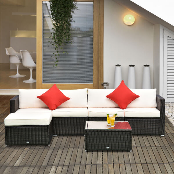 Outsunny 6pc Patio Furniture Rattan Wicker Sofa Outdoor Garden Sectional Couch $559.99