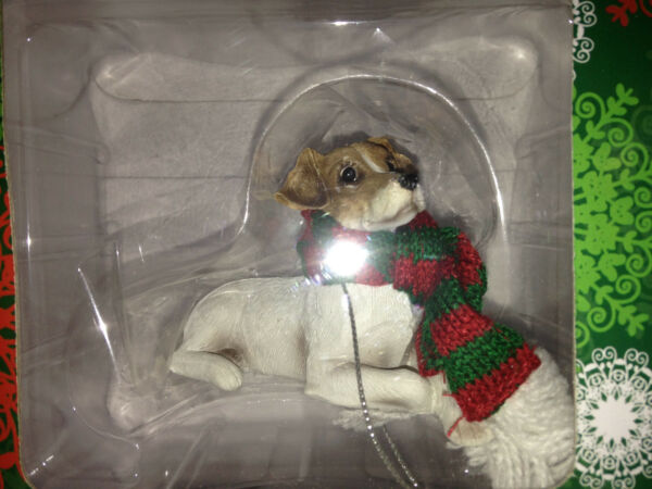 Sandicast Parson Jack Russel TerrierDog Christmas Ornament With Scarf New In Box