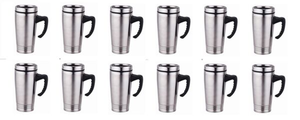 lot 12 x Stainless Steel Insulated Double Wall Travel Coffee Mug CUP 16 OZ NEW!!